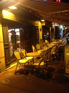 Sidewalk Cafe in Bayeux. Unfilled because of the 38 degree night.